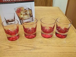 House Beautiful Double Old Fashion Drinkware ~ 4 Glasses ~ Cherry Red ~ NIB - $39.15