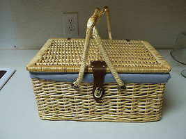 Wicker Woven Picnic Basket ~ Comes with Utensils  - $49.49