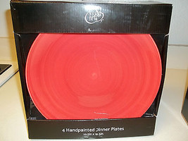 222 Fifth ~ Set of 4 Red Dinner Plates ~ New in Box  - $39.59