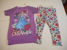 Disney Girls Princess Crochet Raglan Legging & Shirt Set Size XS 4/5 NEW  - $16.82