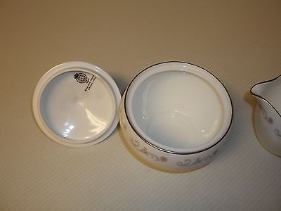 Royal Worcester Bridal Lace ~  Fine Bone China ~ Creamer & Sugar Bowl With Lid