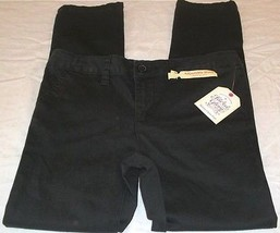 Girls Faded Glory Pants Black Soot Size 5 New W Tags Skinny Chino Adjust... - $9.89