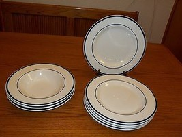 Tabletops Unlimited Bistro Collection Cobalt Blue Rings ~ 8 pc set Plates & Bowl - $89.09