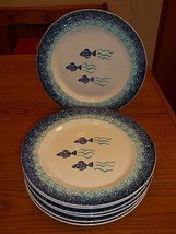 Furio La Primula Blue Fish Dinner Plates - 7 Dinner Plates ~ Stoneware - $69.29