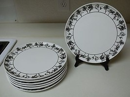 Tabletops Gallery ~ Westwood ~ Black & White ~ Set of 7 Dinner Plates - $89.09