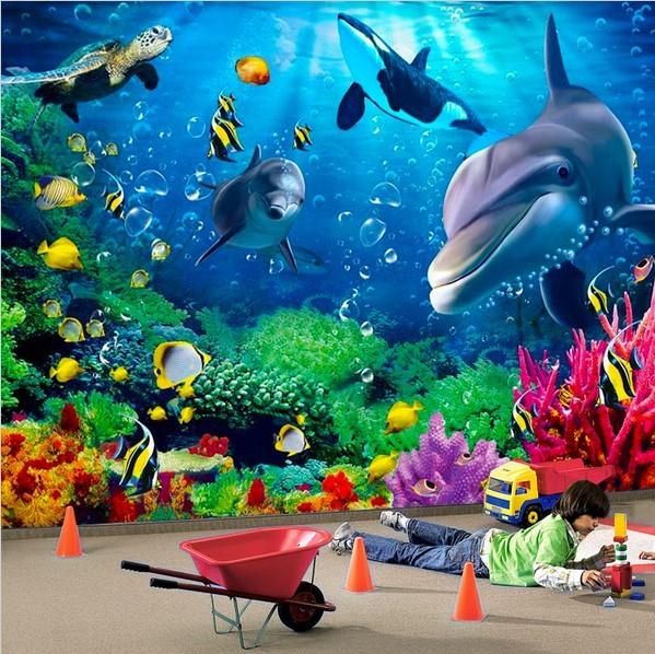 3d wallpaper custom mural dolphin fish turtle undersea for Dolphin mural wallpaper
