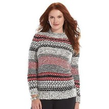 Chaps Striped Mockneck Sweater Fairisle Boucle Women's Plus Size 2X NEW ... - $49.47