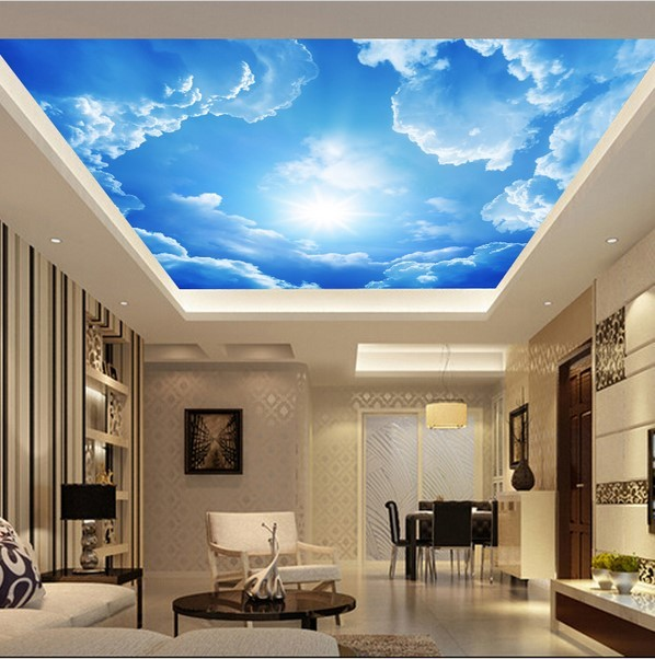 Custom 3d Clouds Ceiling Wallpaper Blue Sky Wall Paper