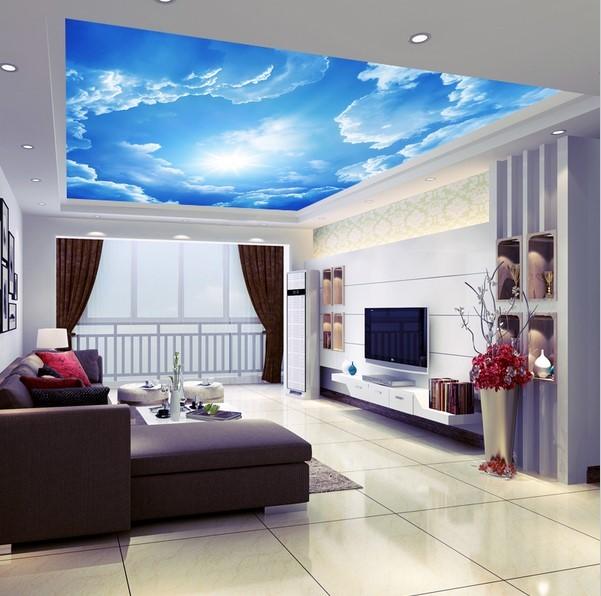 Custom 3D Clouds Ceiling Wallpaper Blue Sky Wall Paper