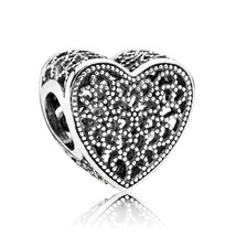 925 Sterling Silver Openwork Romance Heart Charm Bead QJCB826 - $19.88