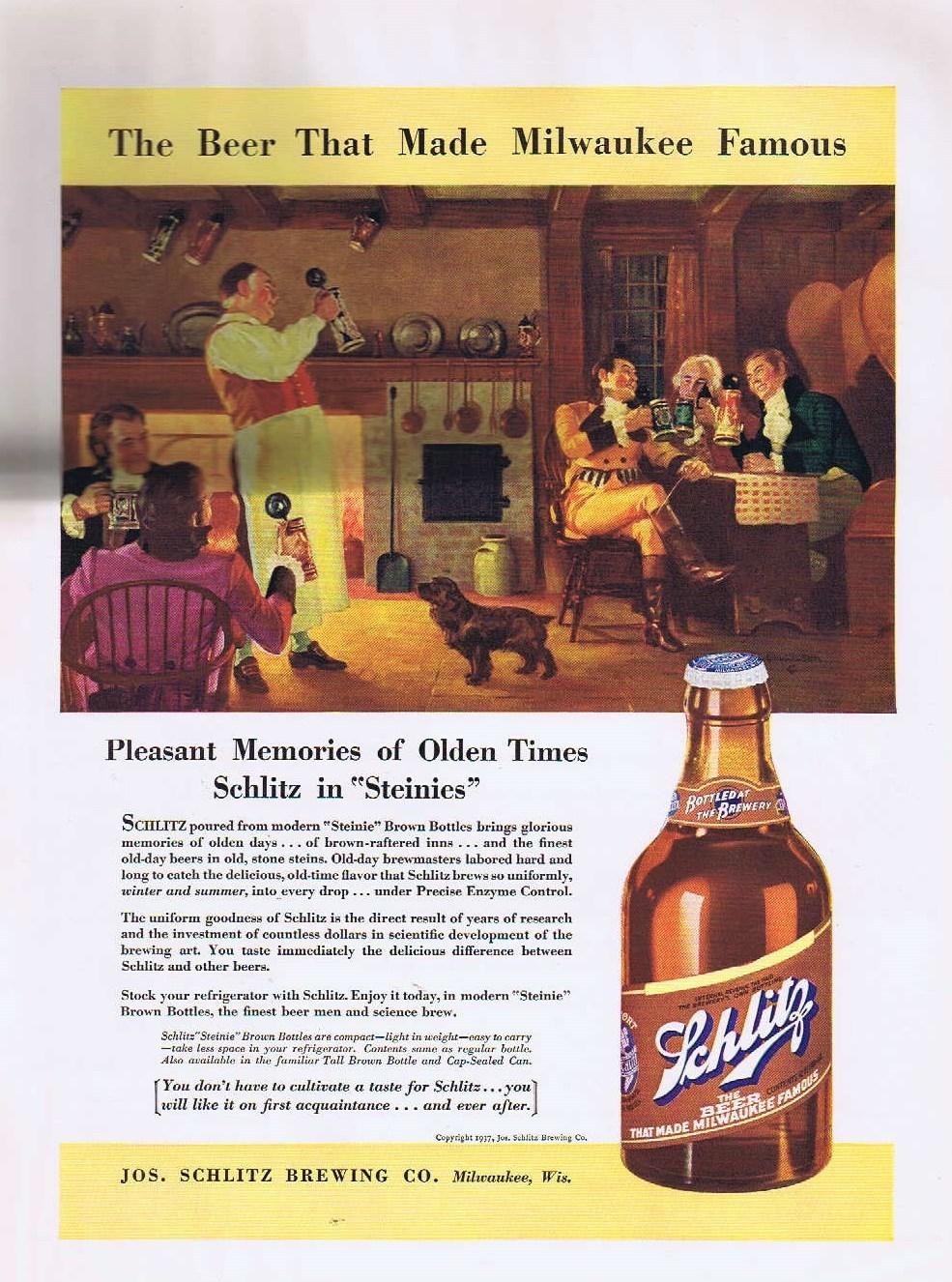 """Schlitz Beer in """"Steinie"""" Brown Bottles 1937 Original Vintage Advertisement"""