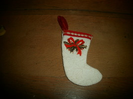 "Antique Christmas Ornament , Cloth Stocking  , Paper Decoration , 4 "" - $3.00"