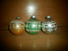 3 Shiny Brite Christmas Ornaments ,  Silver Glitter Designs , Gold , Silver Gree - $15.00