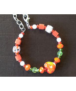Womens Orange Heart, Green, Orange & white glass beads memory wire brace... - $10.00