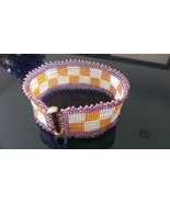 Bracelet orange and white check Womens Loom Woven Seed Beaded - $19.99