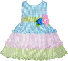 Baby Girls Turquoise Gingham Check Tier Colorblock Seersucker Dress, 24M