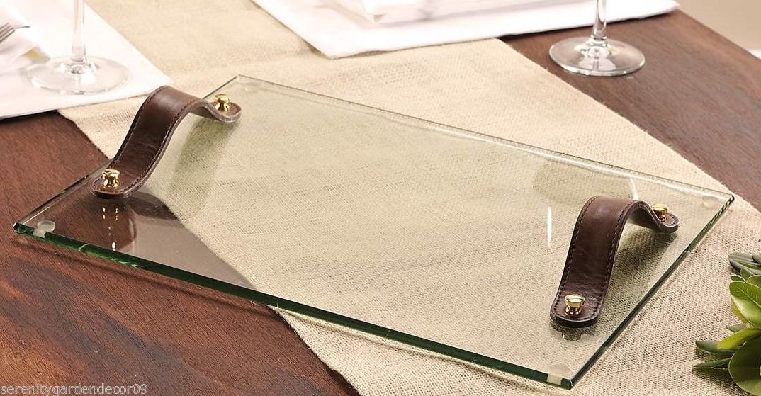 "15.7"" Glass Decorative Serving Tray w Faux Leather Strap Handles"