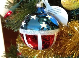 Red White and Blue Patriotric American Flag Blown Glass Ornament (2.5 Inch)