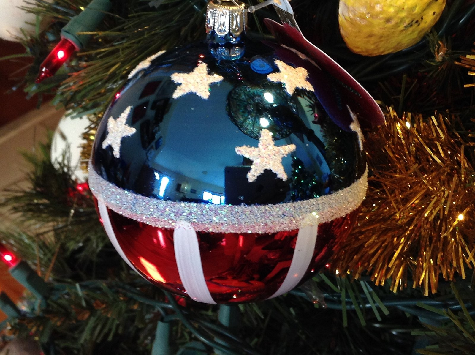 Red White and Blue Patriotric American Flag Blown Glass Ornament (3 Inch)