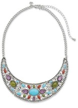 NEW Premier Designs CANDY COATED Statement  Necklace Tribal Silver Turqu... - $28.06