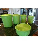 Tupperware Vintage Servalier Canisters Set of 4 Green #805 #807 #809 #81... - $90.95