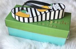 NIB KATE SPADE FLIP FLOPS WEDGE SHOES REMMIE SIZE 8 BLACK/WHITE STRIPE O... - $41.59