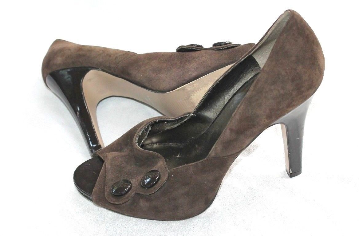 Nine West SIZE 9 KING HIGH HEEL TAUPE PEEP TOE SUEDE PATENT LEATHER HEEL SHOES
