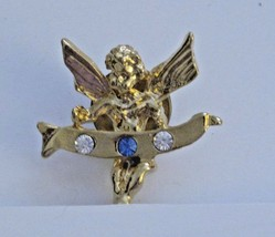 Angel Holding Banner Pin with Clear and Blue Rhinestones - $2.14