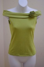 INC S Top Green Off Shoulders Rosette Stretch Small - $13.69
