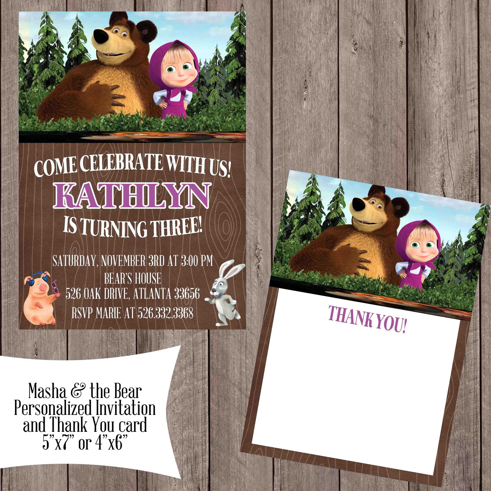 PRINTABLE Masha & the Bear Personalized and 50 similar items