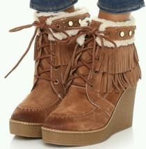 Sam Edelman Kemper Fringe Wedge Lace-up Boot Bootie Mocha SZ 9.5 NEW - $119.00