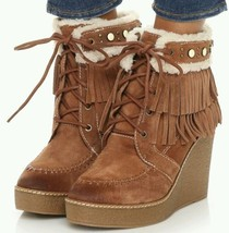 Sam Edelman Kemper Fringe Wedge Lace-up Boot Bootie Mocha SZ 7.5 NEW - $119.00