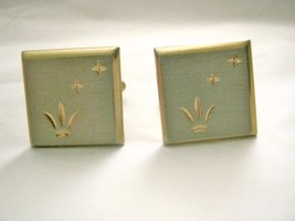 """VTG Swank brushed silver and gold 2 tone bevel cut 3/4"""" cuff links signed - $12.86"""