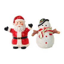 Santa and Snowman Magnetic Salt Pepper Shaker Set Christmas Pals Navidad... - $11.99