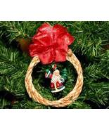 Handmade Rope Wreath Christmas Ornament with Santa Claus - $5.95