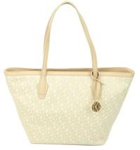 DKNY Shopper Tote Bag Heritage Logo Monogram Canvas Beige Medium Handbag - $271.21