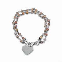 Sterling SilvePink Opal Bracelet with Engravable Heart Tag - $39.99