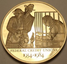 44.2mm Solid Bronze Proof Federal Credit Union 50 Years Of Service Medal... - $15.43
