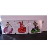 Set of 6 Ladies Latin Dancing Vibrant Color Dresses Coasters - $7.24