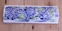 Pratt & Larson Blue & Green Floral Ceramic High Relief Accent Decorative... - $24.95