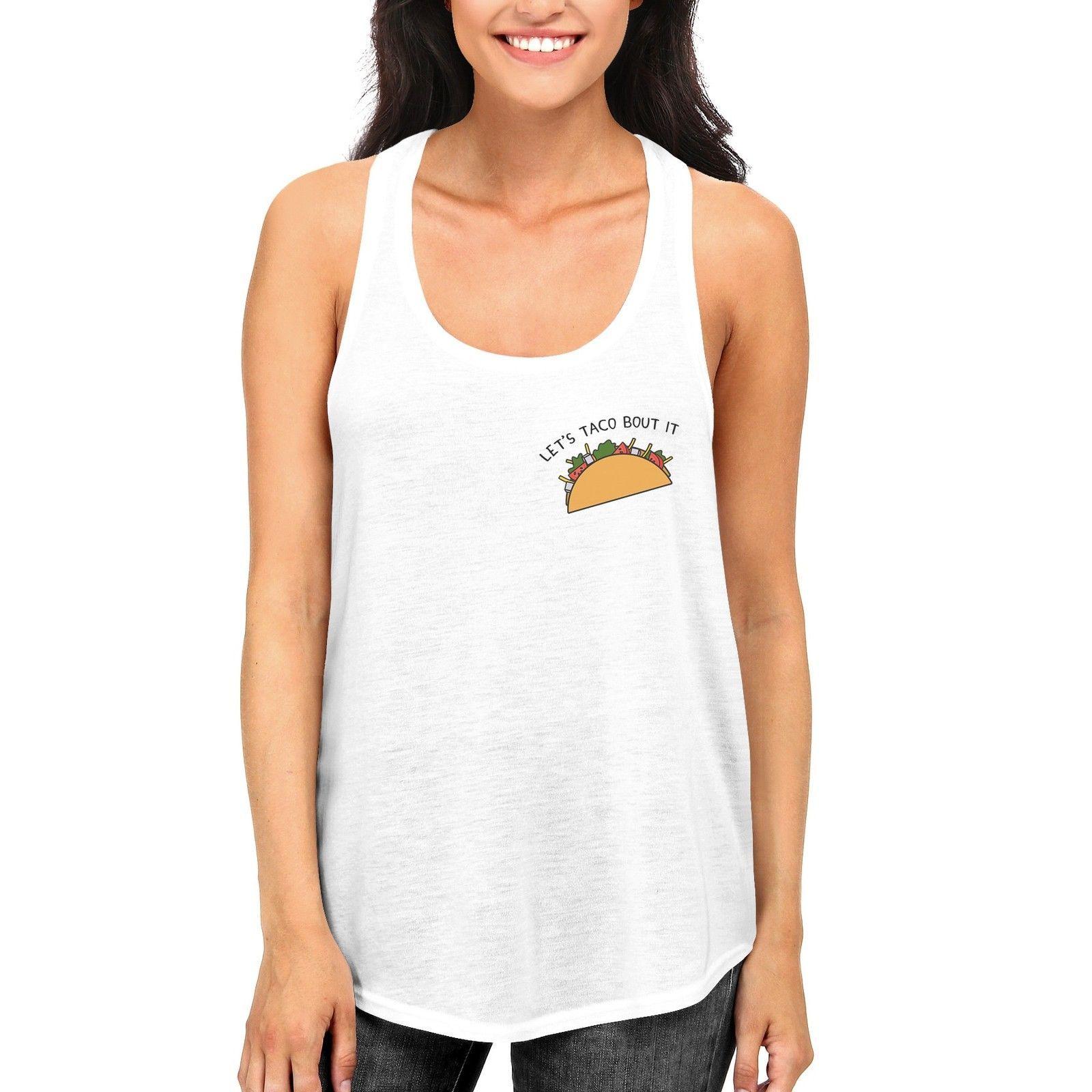Let's Taco About It Funny Women's Tanktop Cute Pocket Print Racerback Tanks - $14.99