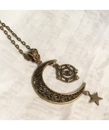 Bronze Crescent Moon Star Necklace 24 Inches Long - $17.99