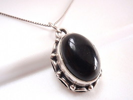 Black Onyx Necklace 925 Sterling Silver Rope Style Decorated Perimeter - $17.27