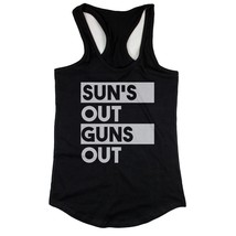 Sun's Out Guns Out Women's Black Tanktop Workout Tank Summer Beach Wear - $14.99+