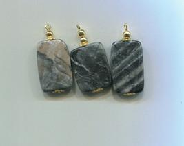 marble gemstone pendants stone pendants gray and black stone charms gems... - $3.00