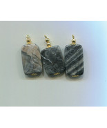 marble gemstone pendants stone pendants gray and black stone charms gems... - $3.00