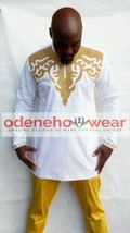 Odeneho Wear Men's White Polished Cotton Outfit/Gold Embroidery.African Clothing - $127.71+