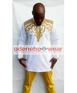 Odeneho Wear Men's White Polished Cotton Outfit/Gold Embroidery.African ... - $127.71+