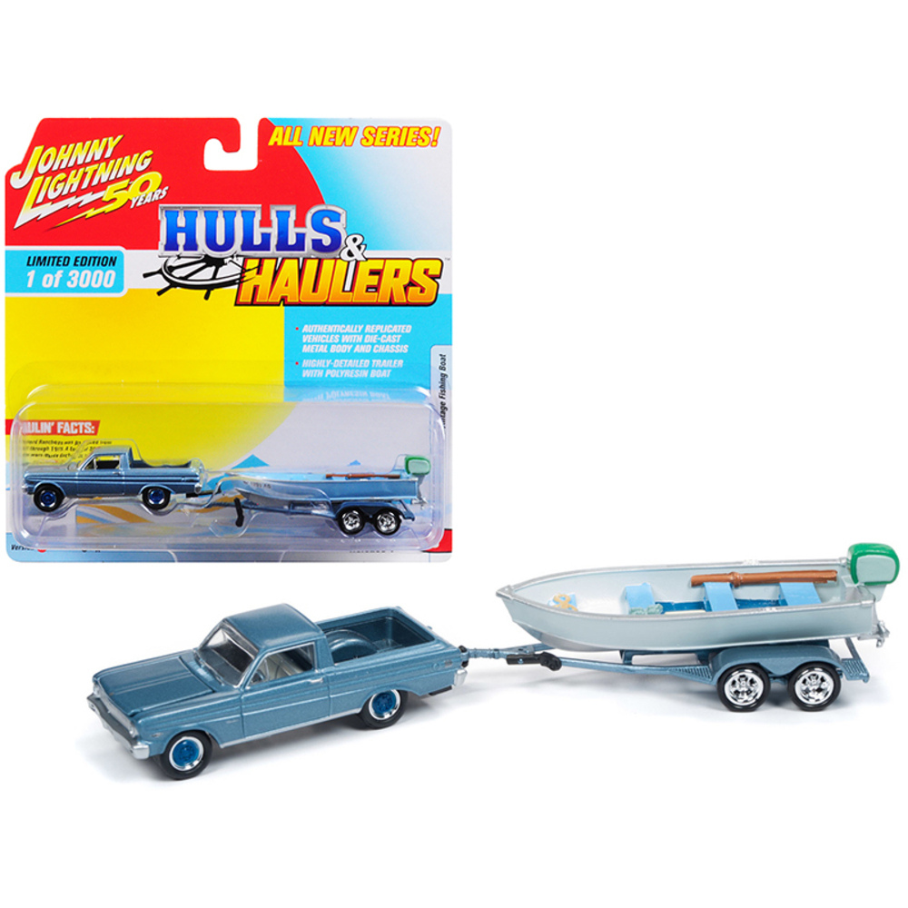 1965 Ford Ranchero Silver Blue with Vintage Fishing Boat Limited Edition to 3,00