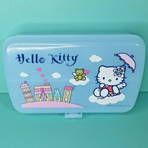Sanrio Hello Kitty Angel Wings Blue Plastic Trinket Box Storage Case Lid... - $74.95